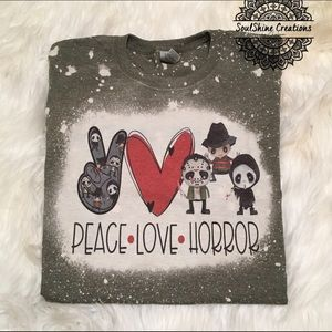 Peace Love Horror Halloween Bleached Shirt